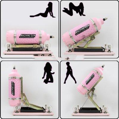 Machine GunS Ayarlanabilir Çok Güçlü Vantuzlu Seks Makinesi +4 Vibratör+1 Vajina Başlık