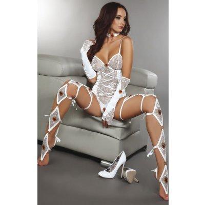 Beyaz Dantel Eldivenli Bacaklıklı Seksi Takım